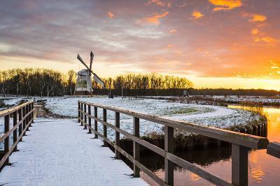 Witte Molen (White Mill) Dutch Windmill in Winter at Sunset, Harn, Groningen-Jason Langley-Photographic Print