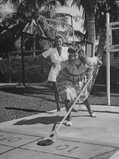 Wives of Men in the US Army and Navy Playing Shuffleboard-Peter Stackpole-Photographic Print