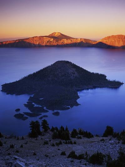 Wizard Island at dusk, Crater Lake National Park, Oregon, USA-Charles Gurche-Photographic Print