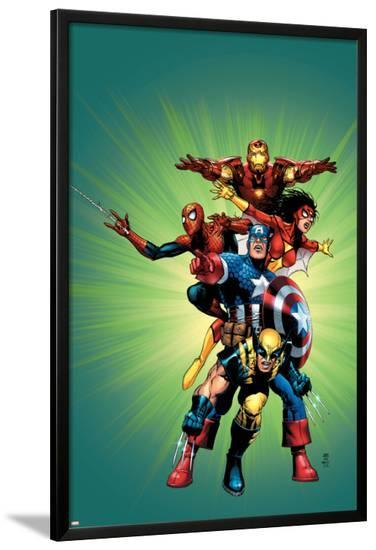Wizard No.136 Cover: Captain America, Wolverine, Spider-Man, Spider Woman, Iron Man & New Avengers-Jim Cheung-Lamina Framed Poster
