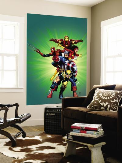 Wizard No.136 Cover: Captain America, Wolverine, Spider-Man, Spider Woman, Iron Man & New Avengers-Jim Cheung-Wall Mural