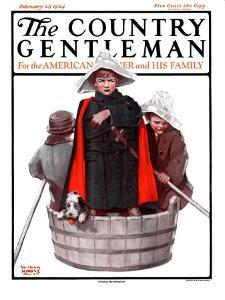 """""""Three Men in a Tub,"""" Country Gentleman Cover, February 23, 1924 by WM. Hoople"""