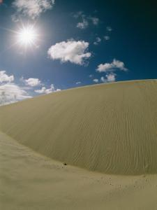 Sunlight and Puffy Clouds over Huge Sand Dunes with Animal Tracks by Wolcott Henry