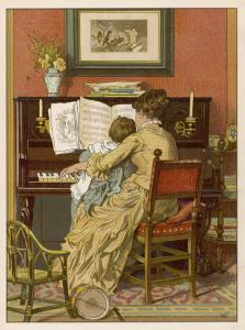 German Mother and Child at the Piano by Woldemar Friedrich