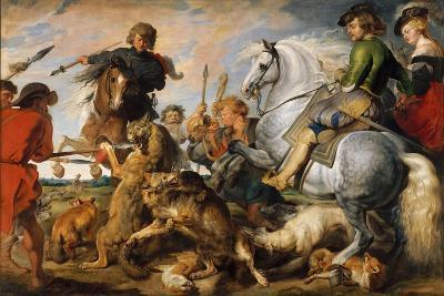 Wolf and Fox Hunt, c.1616-Peter Paul Rubens-Giclee Print