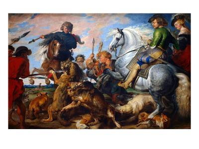 Wolf and Fox Hunt-Peter Paul Rubens-Art Print