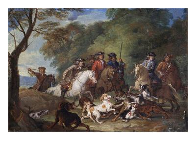 Wolf Hunting, Oil Sketch, C.1720-23-François Desportes-Giclee Print