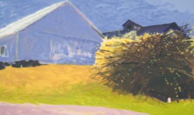 Barn and Forsythia III
