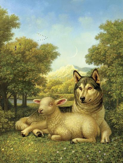 Wolf Lies Down with the Lamb-Dan Craig-Giclee Print