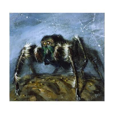 Wolf Spider: a Gigantic Hairy Spider with Beady Eyes Emerges from its Lair to Wreak Havoc-Stanley Meltzoff-Giclee Print