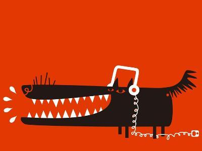 Wolf with Headphones Listens to Music-Complot-Art Print