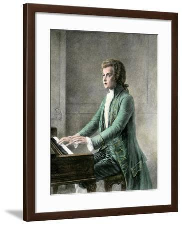 Wolfgang Amadeus Mozart at the Keyboard--Framed Giclee Print
