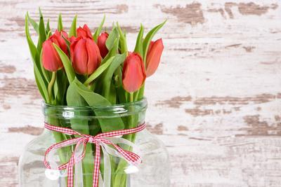 Tulip Bunch in Big Glass Vase to Easter