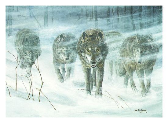 Wolfpack In Snowstorm-Don Li-Leger-Art Print