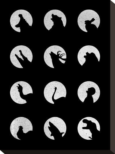 Wolfs Night Off-Florent Bodart-Stretched Canvas Print