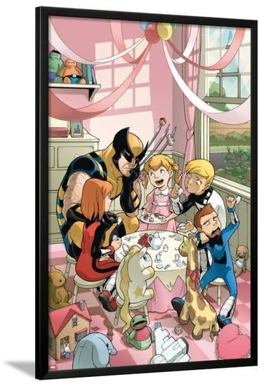 Wolverine And Power Pack No.2 Cover: Wolverine, Lightspeed, Energizer, Mass Master and Zero-G-Gurihiru-Lamina Framed Poster