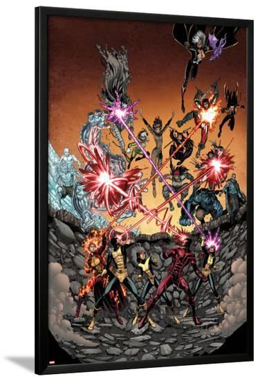 Wolverine and the X-Men #36 Cover: Iceman, Grey, Jean, Summers, Rachel, Pryde, Kitty, Cyclops-Arthur Adams-Lamina Framed Poster