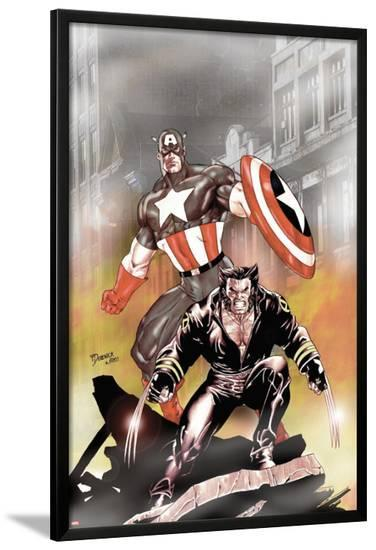 Wolverine Captain America No.1 Cover: Wolverine and Captain America-Tom Derenick-Lamina Framed Poster