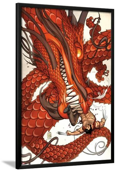 Wolverine Fights a Dragon--Lamina Framed Poster