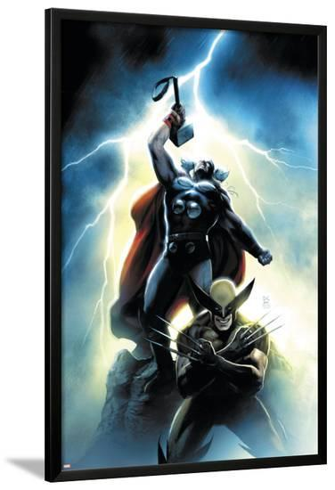 Wolverine First Class No. 15 Cover: Wolverine and Thor-Dennis Calero-Lamina Framed Poster