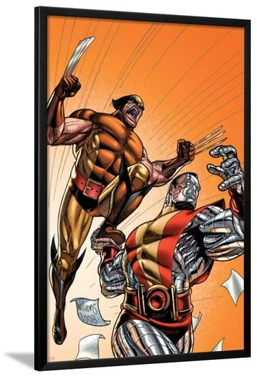 Wolverine First Class No.21 Cover: Colossus and Wolverine-David Williams-Lamina Framed Poster