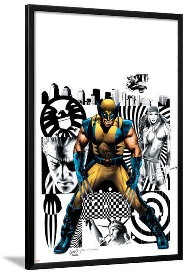 Wolverine No.27 Cover: Wolverine, Nick Fury and Elektra-Greg Land-Lamina Framed Poster