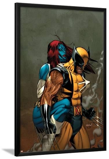 Wolverine No.62 Cover: Wolverine and Mystique-Ron Garney-Lamina Framed Poster