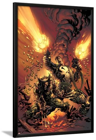 Wolverine Punisher No.1 Cover: Wolverine and Punisher-Mike Deodato-Lamina Framed Poster