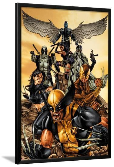 Wolverine: The Road to Hell No.1 Cover: Wolverine, X-23, Deadpool, Psylocke, Archangel, & Fantomax-Mico Suayan-Lamina Framed Poster