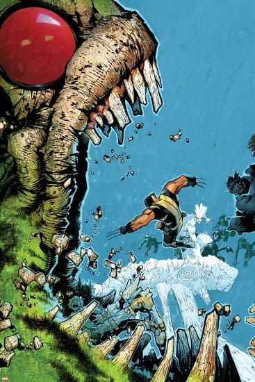 Wolverine & The X-Men No.2 Cover: Wolverine, Iceman, and Hulk Fighting-Chris Bachalo-Art Print
