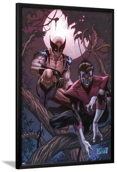 Wolverine Weapon X No.16 Cover: Nightcrawler and Wolverine Crouching in a Tree at Night-Ron Garney-Lamina Framed Poster