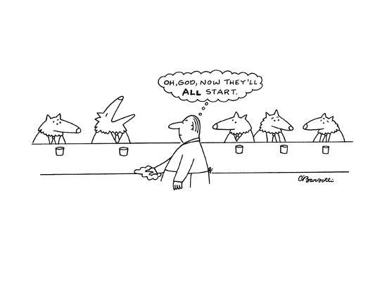 """Wolves in bar; one has started howling and the human bartender thinks, """"Oh?"""" - New Yorker Cartoon-Charles Barsotti-Premium Giclee Print"""