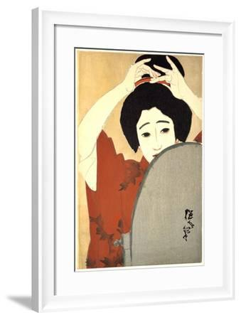 Woman Adjusting Her Hair in Front of the Mirror, 1930-Kitano Tsunetoni-Framed Giclee Print