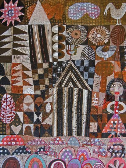 Woman and 2 Huts-Hilke Macintyre-Giclee Print