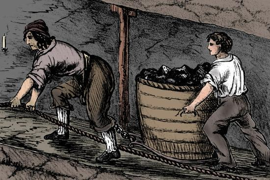 Woman and a boy working in a coal mine, Bolton, Lancashire, 1848-Unknown-Giclee Print