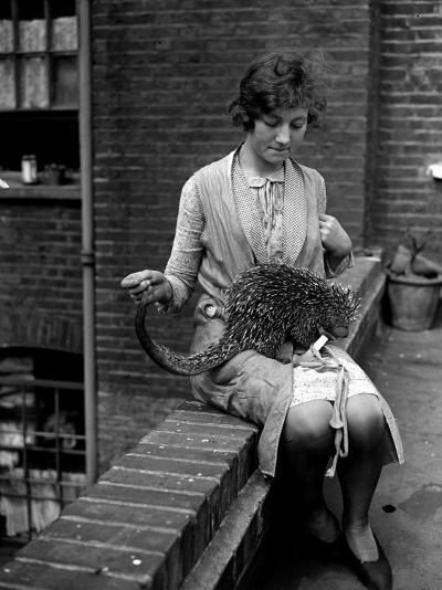 Woman and Anteater--Photographic Print