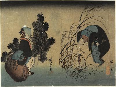 Woman and Badger-Utagawa Hiroshige-Giclee Print