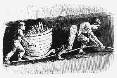 Woman and Boy Drawing a Corve Containing 3-4 Cwt of Coal, Bolton, Lancashire, 1848--Giclee Print