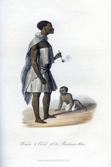 Woman and Child of the Bushman Race, 1848--Giclee Print