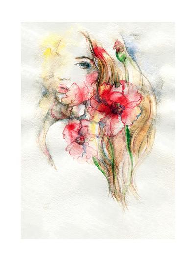 Woman and Flowers-Anna Ismagilova-Art Print