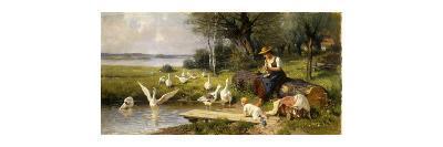 Woman and Geese; Madchen und Gansen-Adolf Ernst Meissner-Premium Giclee Print