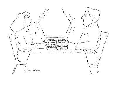 """Woman and man each with a mug, the woman's says """"In touch with my feelings? - New Yorker Cartoon-Stuart Leeds-Premium Giclee Print"""