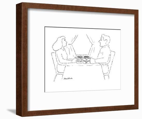 """Woman and man each with a mug, the woman's says """"In touch with my feelings? - New Yorker Cartoon-Stuart Leeds-Framed Premium Giclee Print"""