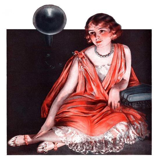 """""""Woman and Phonograph,""""March 21, 1925-Pearl L^ Hill-Giclee Print"""