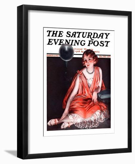 """""""Woman and Phonograph,"""" Saturday Evening Post Cover, March 21, 1925-Pearl L. Hill-Framed Premium Giclee Print"""