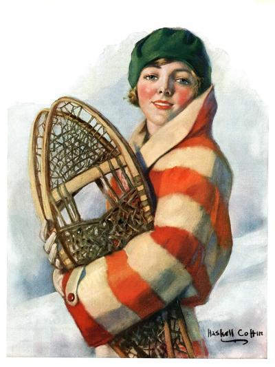 """""""Woman and Snowshoes,""""January 26, 1929-William Haskell Coffin-Giclee Print"""