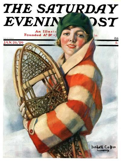 """""""Woman and Snowshoes,"""" Saturday Evening Post Cover, January 26, 1929-William Haskell Coffin-Giclee Print"""