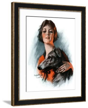 """""""Woman and Wolfhound,""""October 17, 1925-William Haskell Coffin-Framed Giclee Print"""