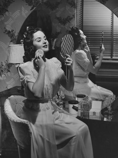 Woman Applying Make Up at Vanity Table-George Marks-Photographic Print