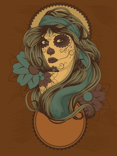 Woman as Sugar Skull with Detailed Hair Dressed for Day of the Dead- Transfuchsian-Art Print